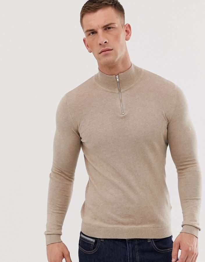 b6250a890a4 Design DESIGN cotton half zip jumper in tan