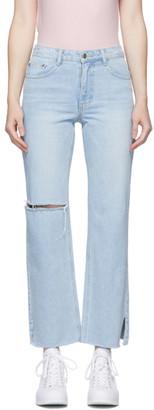 Sjyp Blue Simple Cut Detail Jeans