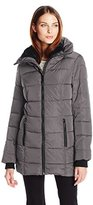 Steve Madden Women's Concealed Hood Puffer Coat