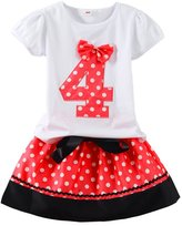 Mud Kingdom Polka Dot Toddler Girl's Birthday Clothing Set I am 4 Red Skirt