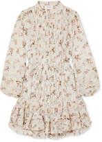 Zimmermann Whitewave Lace-paneled Printed Crinkled-georgette Mini Dress - Cream