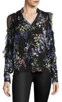 Parker Elana Floral Silk Cold-Shoulder Top