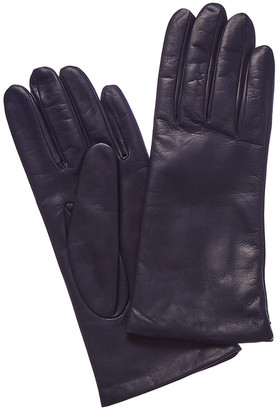 Portolano Navy Cashmere-Lined Leather Gloves
