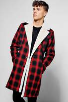 boohoo Longline Faux Fur Lined Check Overcoat