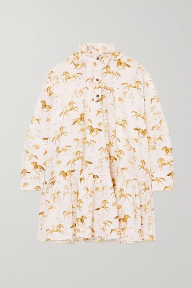 Ganni Net Sustain Printed Organic Cotton-poplin Mini Dress - White