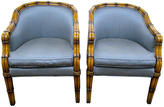 One Kings Lane Vintage Faux-Bamboo Barrel-Back Chairs, Pair
