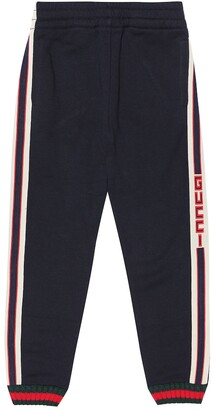 Gucci Kids Logo-taped cotton trackpants