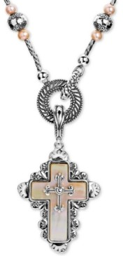 "American West Mother of Pearl Cross 28"" Pendant Necklace in Sterling Silver"