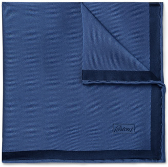 Brioni Contrast-Tipped Silk-Twill Pocket Square