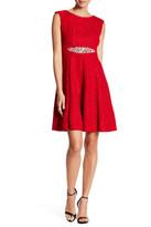 Eliza J Jewel Waist Fit & Flare Dress