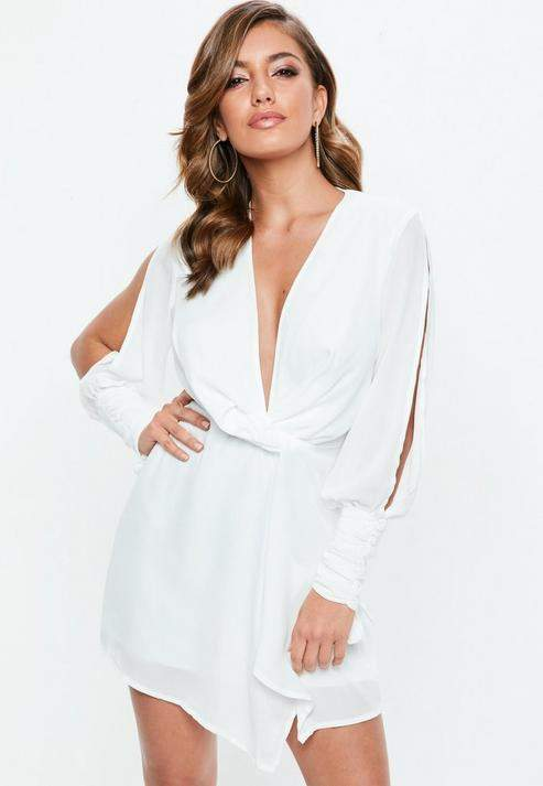 Missguided White Slit Sleeve Knot Front Wrap Dress, White