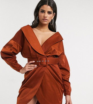 Asos Tall ASOS DESIGN Tall off shoulder ruched belted tux mini Dress in Rust