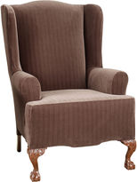 Sure Fit Stretch Pinstripe 1-pc. Wing Chair Slipcover
