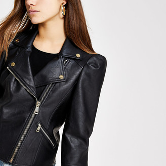 River Island Petite black faux leather puff sleeve jacket