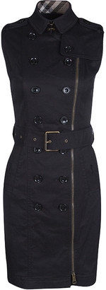 Burberry Black Zip Front Belted Sleeveless Trench Dress S