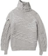 Burberry Runway Oversized Patchwork Cable-knit Cotton-blend Sweater - Gray