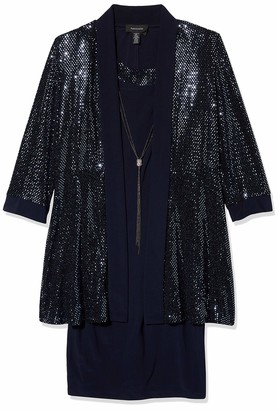 R & M Richards R&M Richards Women's Two Piece Sequins trens Jacket and Solid Dress