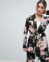 boohoo Premium Floral Print Belted Blazer