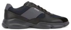 HUGO BOSS Low Top Trainers In Leather With Open Mesh Panels - Open Grey