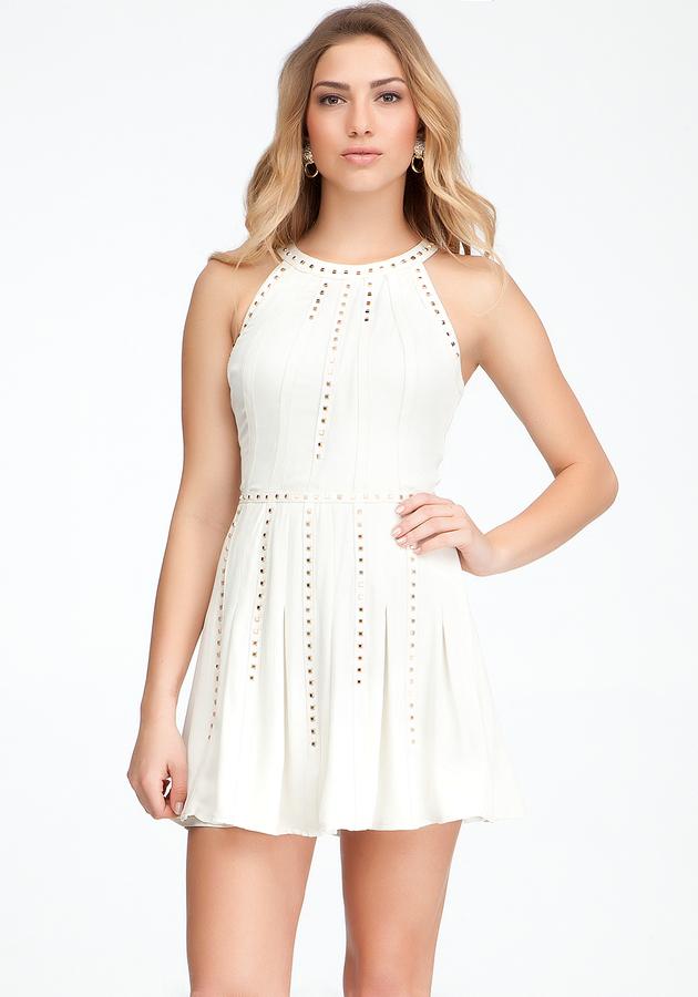 Bebe Silk & Leather Studded Dress