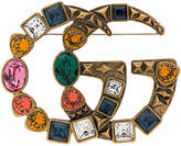Gucci Multicoloured Double GG Crystal Brooch