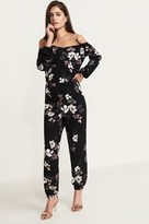 Dynamite Floral Cold Shoulder Jumpsuit