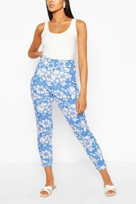 boohoo Floral Skinny Belted Pants