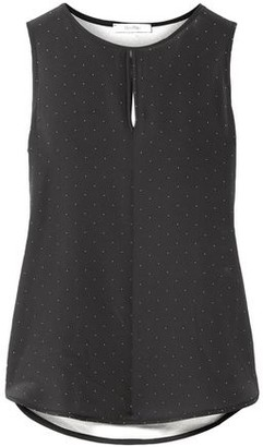 Max Mara Eccelso Polka-dot Silk Crepe De Chine And Stretch-jersey Top
