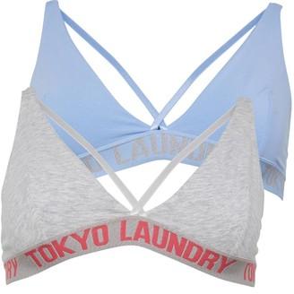 Tokyo Laundry Womens Pk2 Bras Blue/Grey Marl