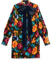 Gucci Pictorial flowers velvet dress with bow