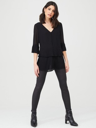Very Essential Pleated Button Detail Tunic - Black