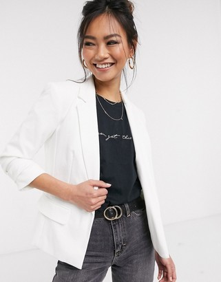 Miss Selfridge ponte blazer in white
