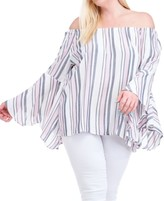 Fever Plus Size Striped Off-The-Shoulder Top