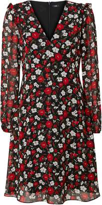 Wallis Red Floral Print Ruffle Dress