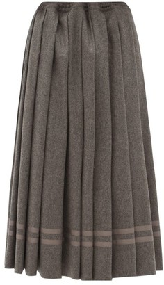 Zanini Pleated Wool-flannel Midi Skirt - Grey
