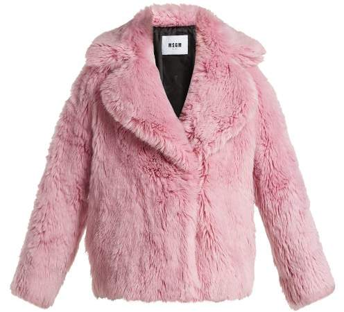 MSGM Cropped Faux Fur Jacket - Womens - Light Pink