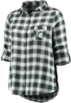 Green & Black Unbranded Women's Plus Size Concepts Sport Green/Black Michigan State Spartans Forge Rayon Flannel Long Sleeve Button-Up Shirt