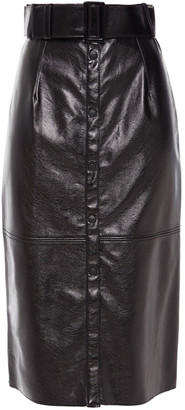 MSGM Belted Faux Leather Skirt