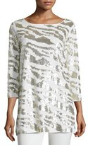 Joan Vass Sequined Animal Tunic, Ivory, Plus Size