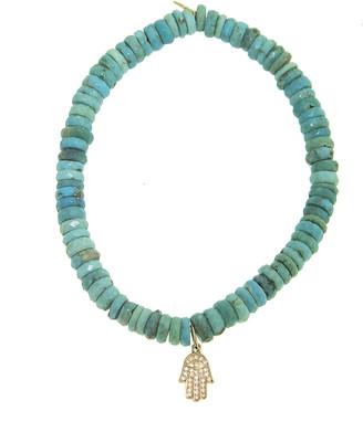 Sydney Evan Tiny Diamond Pave Hamsa Yellow Gold Charm on Arizona Turquoise Faceted Wheel Beaded Bracelet