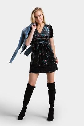francesca's Saleen Floral Velour Dress - Black