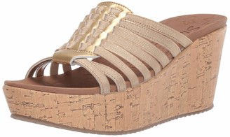 Skechers Women's BRIT-Girl Wonder-Wedge Stretch Huarache Slide Sandal