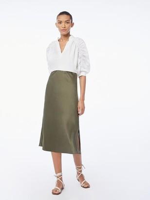 Frame Washable Silk Bias Midi Skirt