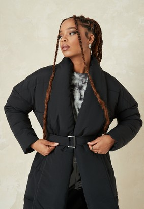 Missguided Tall Black Shawl Collar Belted Puffer Coat
