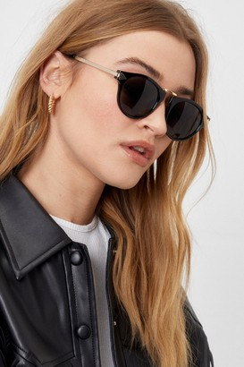 Nasty Gal Womens See You 'Round Thick Tinted Sunglasses - Black