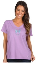 Life is Good Blue Butterfly Crusher Vee (Soft Purple) - Apparel