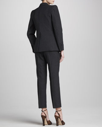 Marc Jacobs Pinstriped Slim Ankle Pants, Black