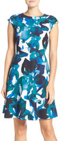 Vince Camuto Floral Crepe Fit & Flare Dress