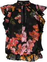Pinko sleeveless ruffle print blouse