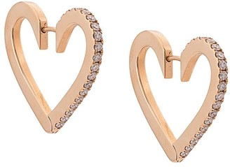 Cadar 18kt rose gold Endless medium diamond heart hoops